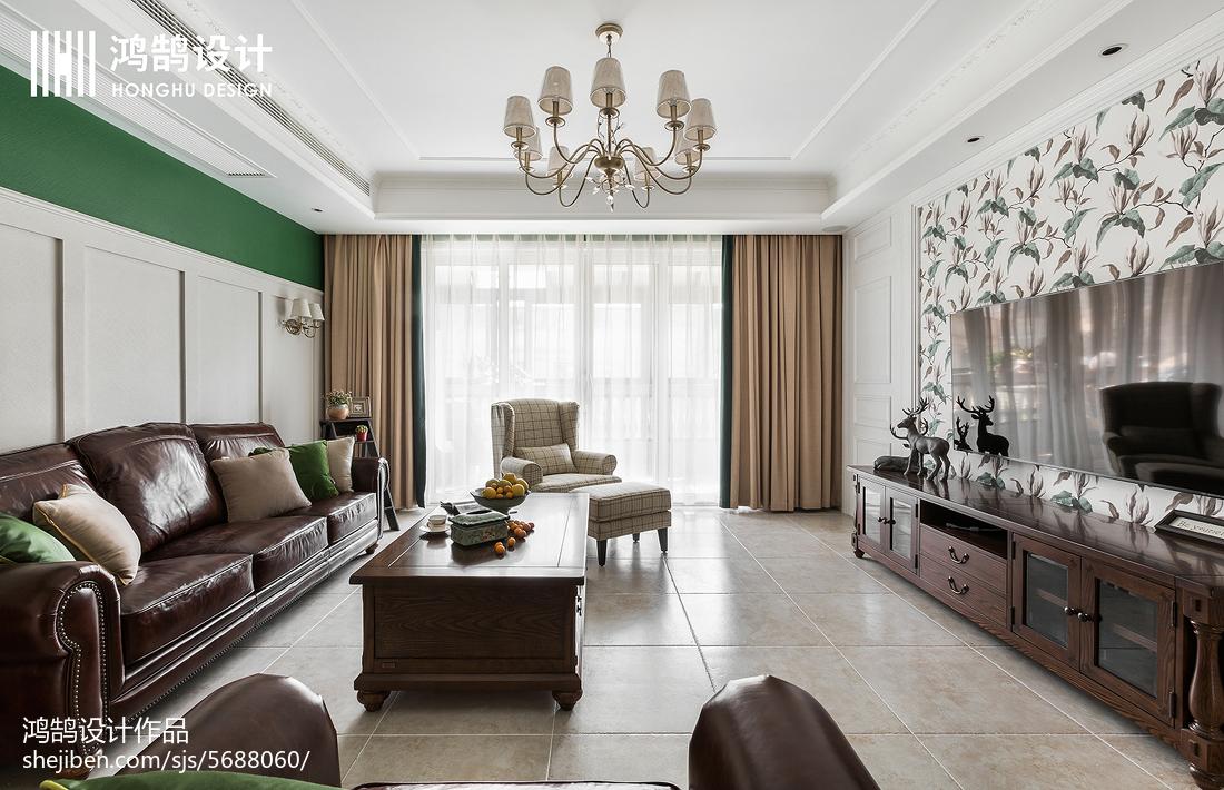 精选面积107平美式三居客厅装饰图片大全客厅美式经典客厅设计图片赏析