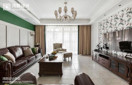 精选面积107平美式三居客厅装饰图片大全客厅窗帘