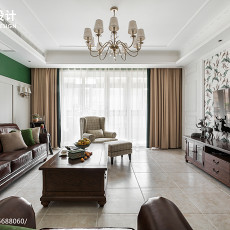 精选面积107平美式三居客厅装饰图片大全