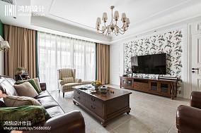 195㎡美式背景墙设计图三居美式经典家装装修案例效果图