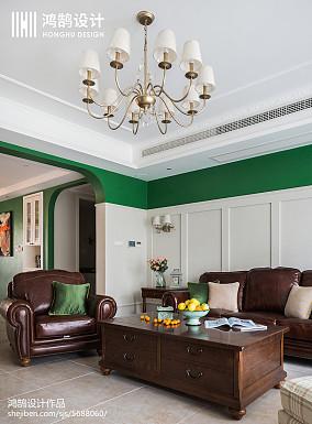 热门92平米三居客厅美式装修图三居美式经典家装装修案例效果图