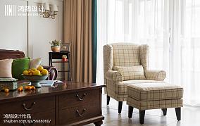 2018精选面积99平美式三居客厅装饰图片三居美式经典家装装修案例效果图