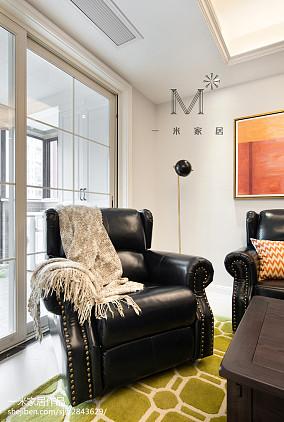 2018面积107平美式三居客厅装修欣赏图三居美式经典家装装修案例效果图
