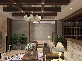现代中式暗厅装修效果图