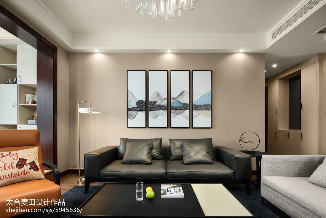 简单现代风三居客厅沙发背景墙设计图客厅