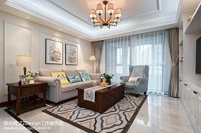 热门面积91平美式三居客厅装修实景图片