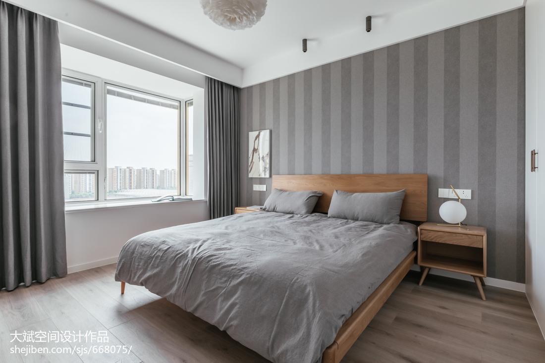 75平米二居卧室现代装修欣赏图卧室床现代简约卧室设计图片赏析