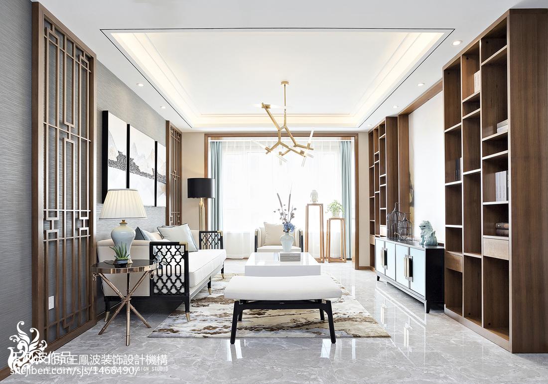 中式别墅客厅设计图别墅豪宅中式现代家装装修案例效果图