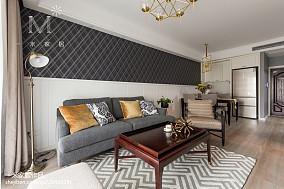 轻奢112平美式三居客厅设计图三居美式经典家装装修案例效果图