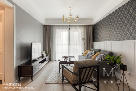 精选102平方三居客厅美式实景图片欣赏