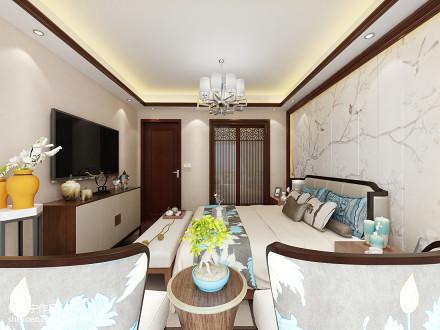 精选面积120平中式四居卧室效果图客厅