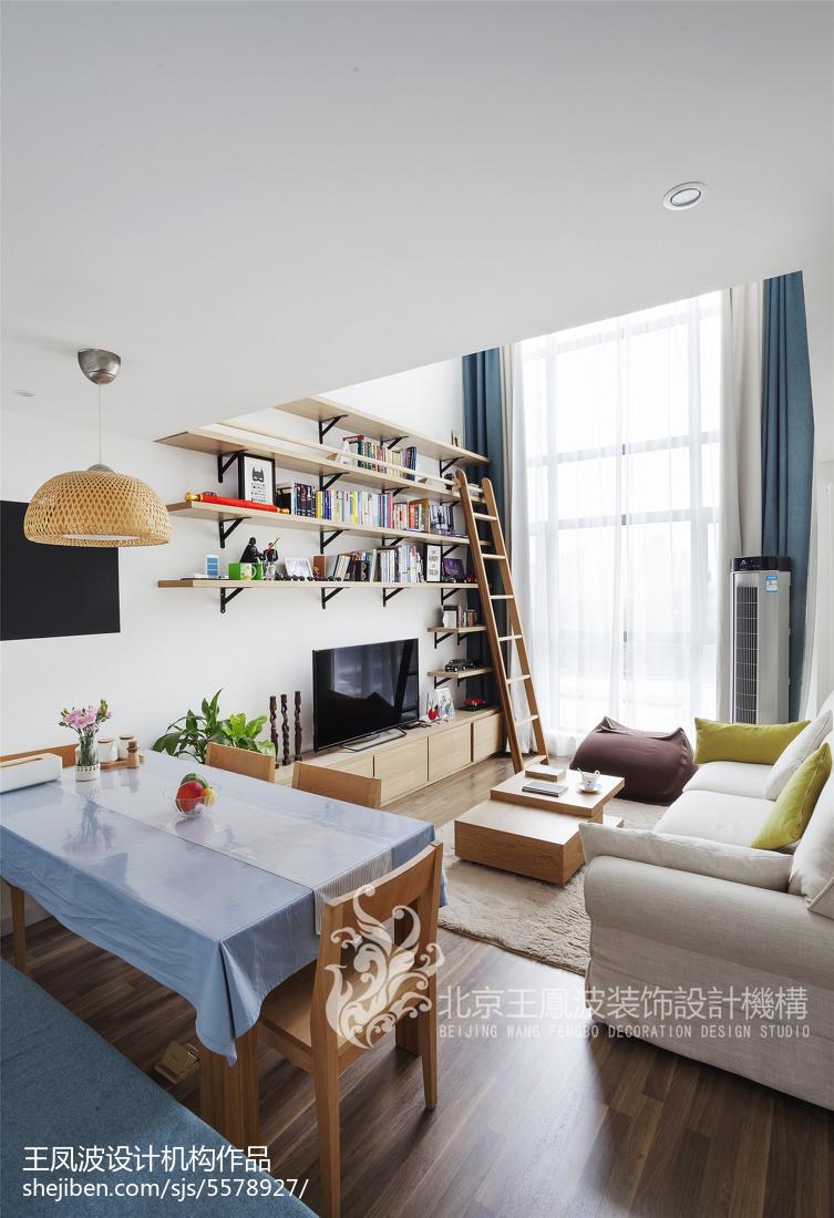 日式简约二居客厅餐厅一体设计图