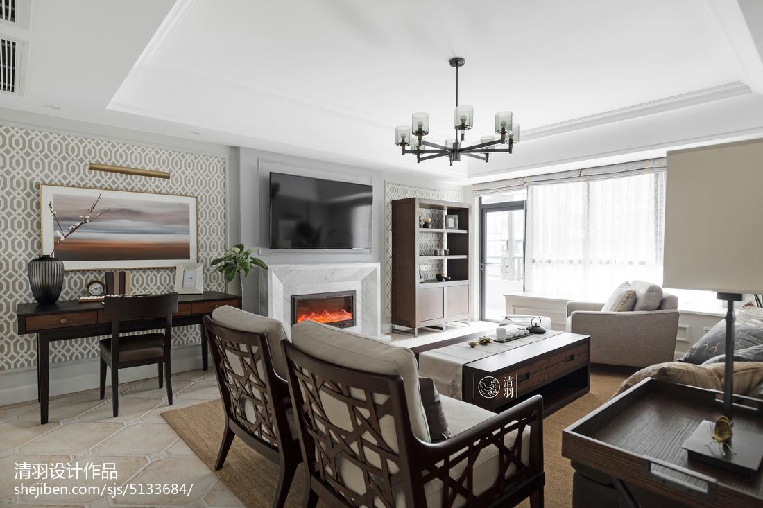 简单美式四居客厅设计效果图厨房窗帘美式经典餐厅设计图片赏析