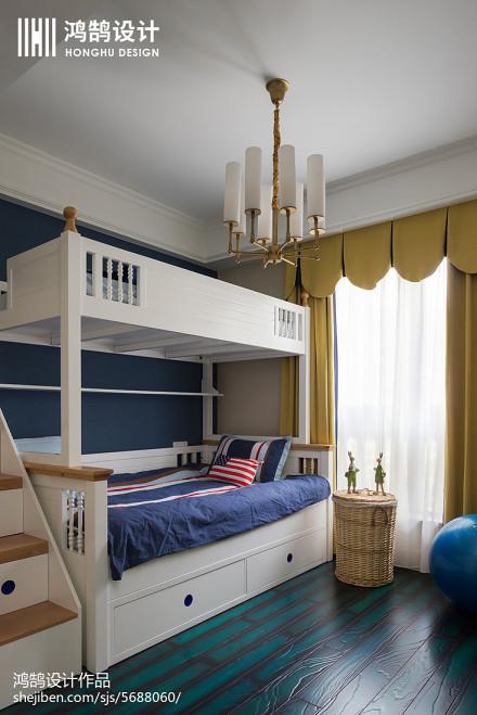 温馨100平美式四居实景图片卧室