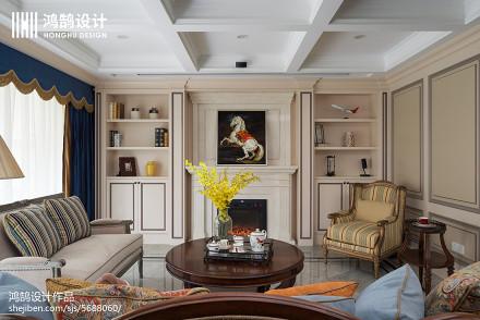 精美大小132平美式四居客厅装饰图四居及以上美式经典家装装修案例效果图