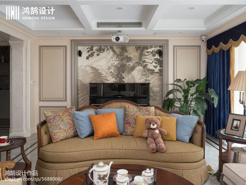 2019精选面积118平美式四居客厅设计效果图客厅窗帘2图