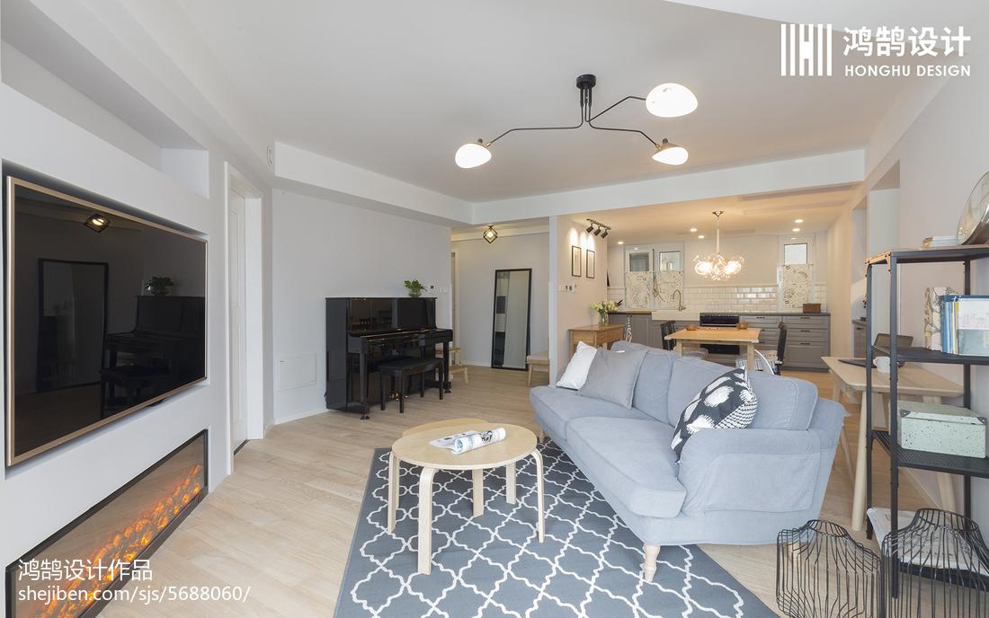 精美面积97平北欧三居客厅装修设计效果图片欣赏客厅