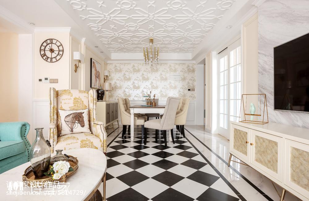 暖色系美式三居餐厅设计图厨房2图美式经典餐厅设计图片赏析
