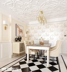 暖色系美式三居餐厅设计图片