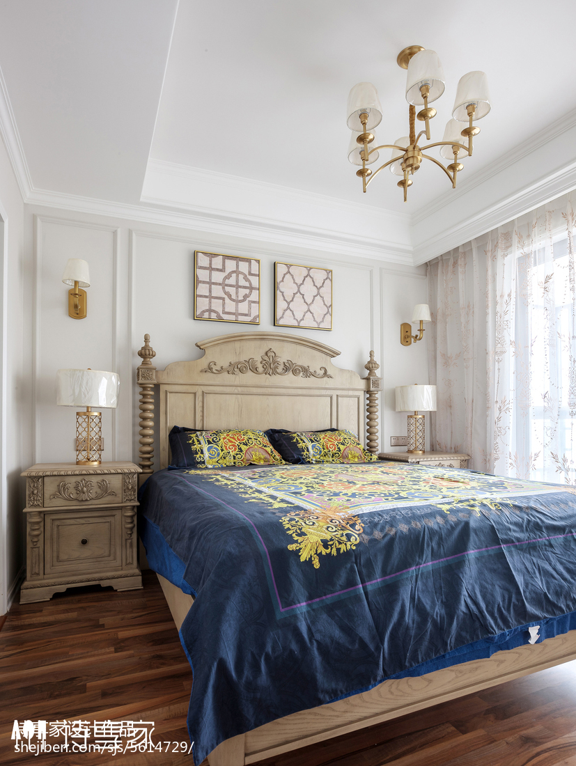 暖色系美式三居卧室设计图卧室2图美式经典卧室设计图片赏析