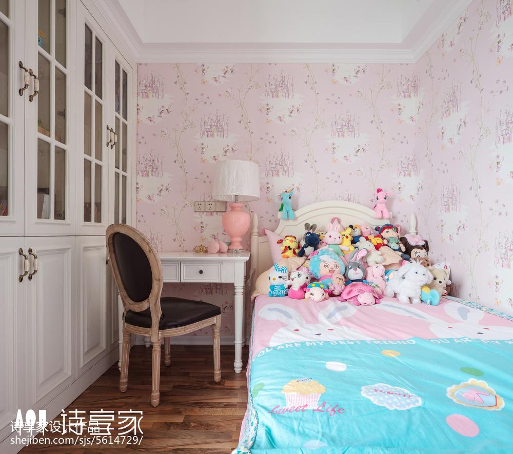 暖色系美式三居儿童房设计图卧室1图美式经典卧室设计图片赏析