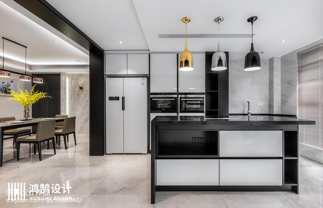 质朴116平现代四居厨房装修图片餐厅现代简约厨房设计图片赏析