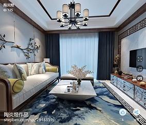 2018精选106平米三居客厅中式装修设计效果图片大全