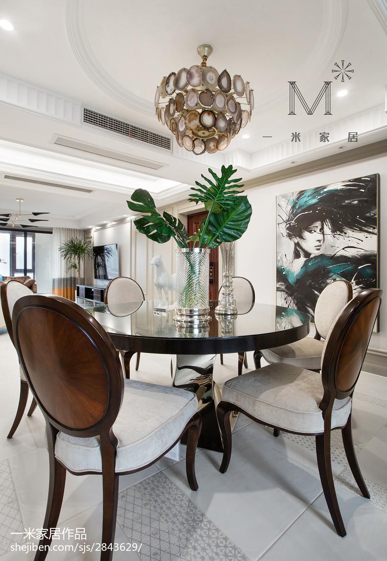 热门105平米三居餐厅美式装修实景图片大全厨房美式经典餐厅设计图片赏析