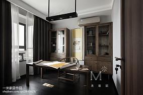 2018面积104平中式三居书房装修欣赏图片大全三居中式现代家装装修案例效果图