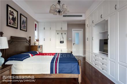 优雅99平美式三居实拍图卧室