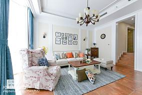 普通美式三居客厅设计效果图三居美式经典家装装修案例效果图