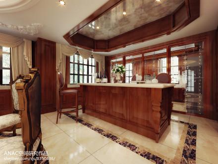 明亮818平美式别墅厨房效果图餐厅