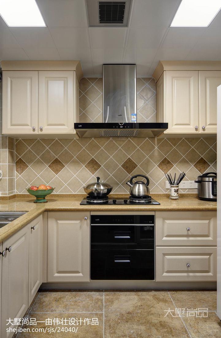 热门面积99平美式三居厨房装修效果图餐厅美式经典厨房设计图片赏析