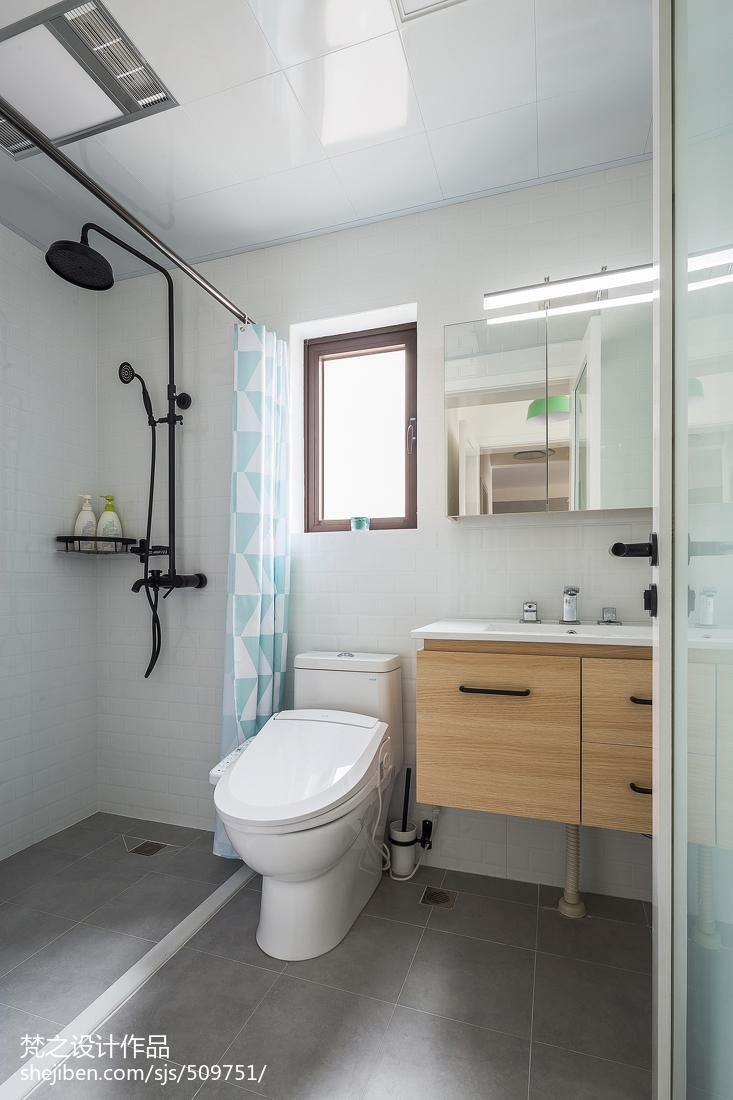 热门103平米三居卫生间北欧装修图片欣赏卫生间马桶北欧极简卫生间设计图片赏析