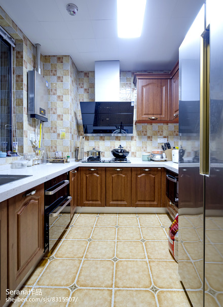热门103平米三居厨房地中海效果图片餐厅