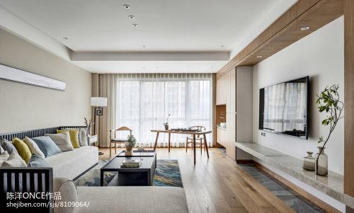 清新现代三居背景墙设计图片客厅窗帘60m²以下现代简约家装装修案例效果图