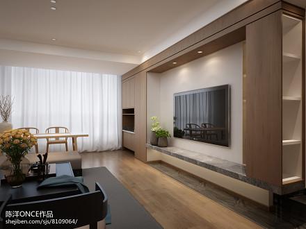 清新现代三居背景墙设计图客厅