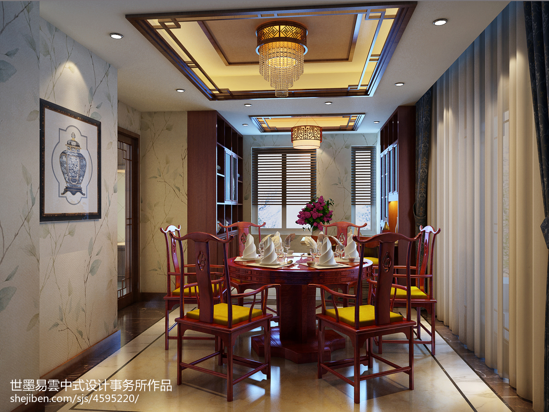 质朴994平中式别墅餐厅设计案例厨房中式现代餐厅设计图片赏析