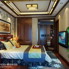 质朴558平中式别墅卧室装潢图