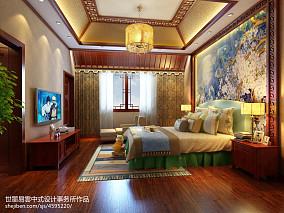 明亮613平中式别墅卧室图片欣赏卧室2图中式现代设计图片赏析