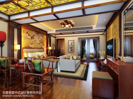 精美252平中式别墅卧室效果图卧室1图
