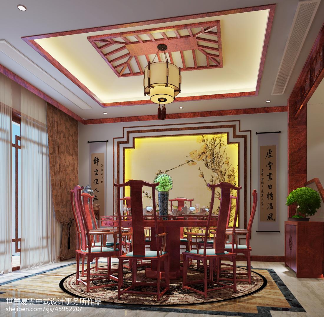 质朴259平中式别墅餐厅效果图厨房中式现代餐厅设计图片赏析
