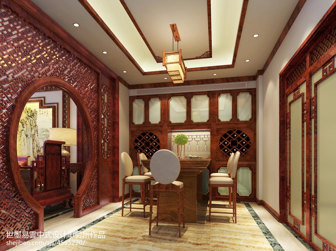 质朴719平中式别墅餐厅装潢图厨房中式现代餐厅设计图片赏析