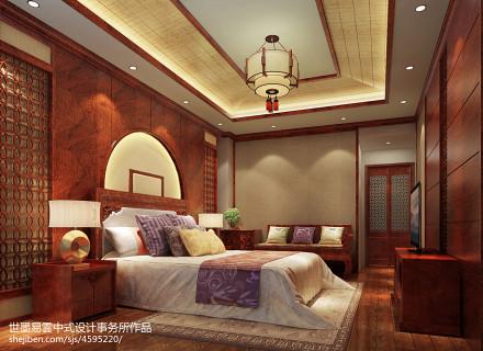 轻奢450平中式别墅卧室效果图卧室