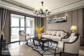 经典中式客厅吊灯设计图三居中式现代家装装修案例效果图