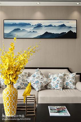 97平米三居客厅中式实景图三居中式现代家装装修案例效果图