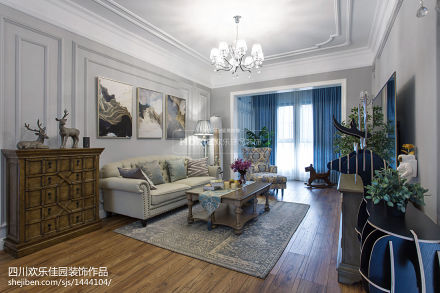 精美面积78平美式二居客厅装修图片客厅