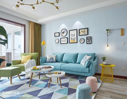 热门103平米三居客厅北欧装饰图片大全客厅