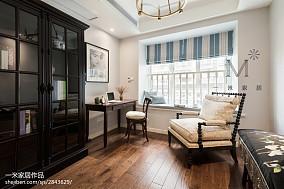 热门面积135平美式四居书房装修图四居及以上美式经典家装装修案例效果图