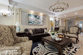 面积128平美式四居客厅装修欣赏图片大全四居及以上美式经典家装装修案例效果图